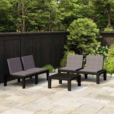 vidaXL Loungegrupp för trädgården 3 delar med dynor plast grå
