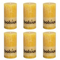 Bolsius Rustika blockljus 6 st 130x68 mm ockragul