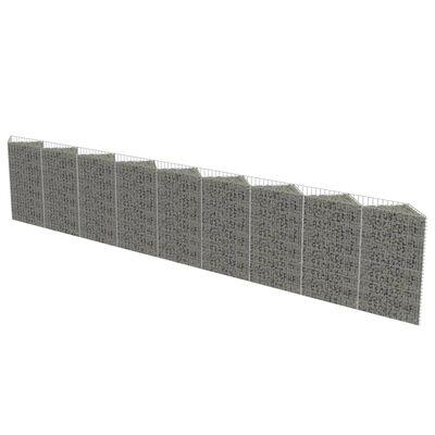 vidaXL Gabionmur i galvaniserat stål 630x30x100 cm