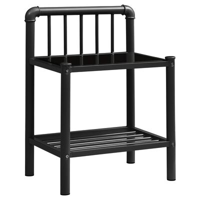 vidaXL Sängbord svart 45x34x62,5 cm metall och glas