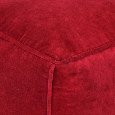 vidaXL Sittpuff bomullssammet 40x40x40 cm rubinröd
