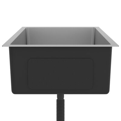 vidaXL Handgjord diskho med sil rostfritt stål,