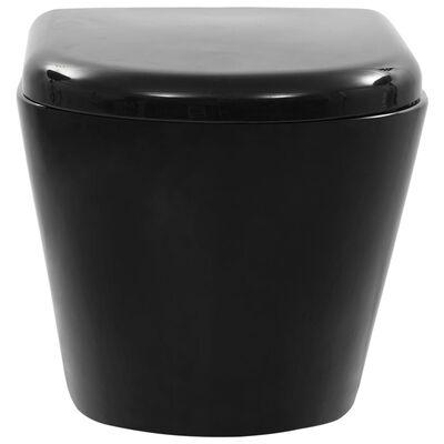 vidaXL Toalettstol vägghängd utan spolkant keramisk svart