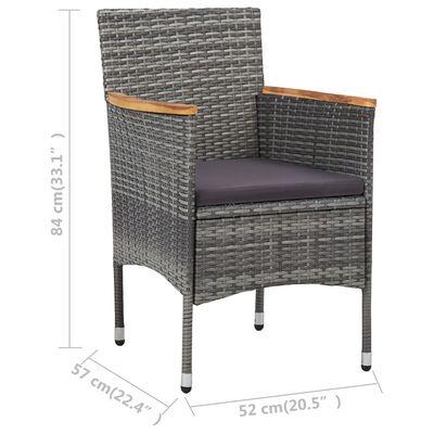 vidaXL Matstolar för trädgård 2 st konstrotting grå