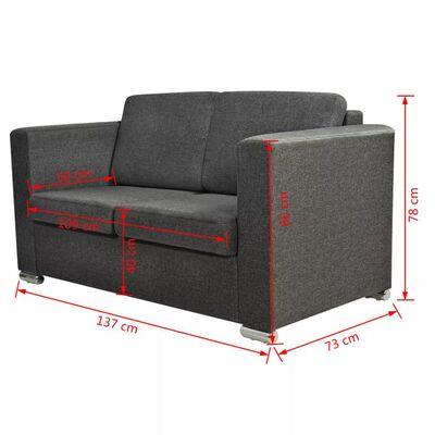 vidaXL 2-sitssoffa i tyg mörkgrå