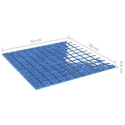 vidaXL Självhäftande mosaikplattor 11 st blå 30x30 cm glas