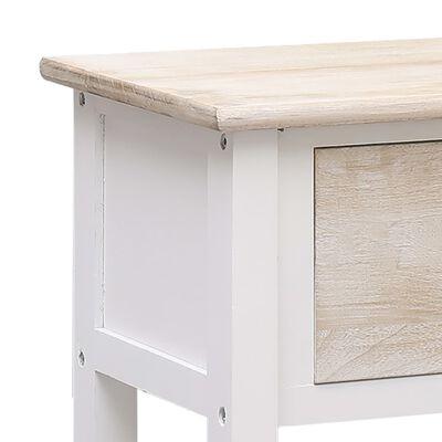 vidaXL Skänk naturlig och vit 115x30x76 cm trä, Brownandwhite