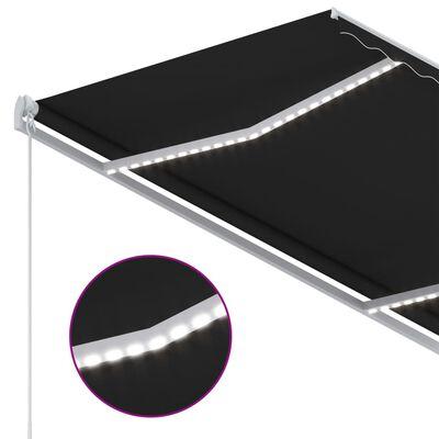 vidaXL Markis manuellt infällbar med LED 300x250 cm antracit