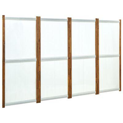 vidaXL Rumsavdelare 4 paneler gräddvit 280x170 cm