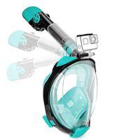Helmask cyklop med snorkel och GoPro fäste - turkos - S/M