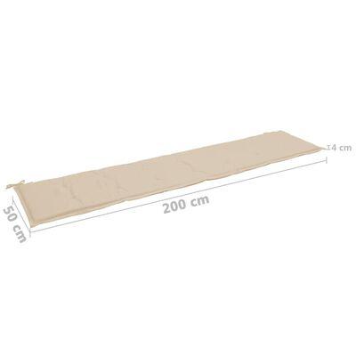 vidaXL Dyna för trädgårdsbänk beige 180x50x3 cm