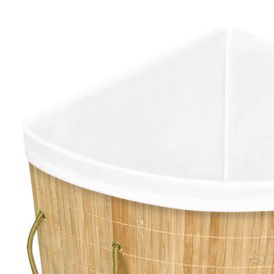 vidaXL Tvättkorg för hörn bambu 60 L