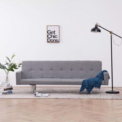 vidaXL Bäddsoffa med armstöd ljusgrå polyester