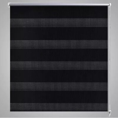 Rullgardin randig svart 80 x 175 cm transparent