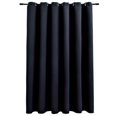 vidaXL Mörkläggningsgardin med metallringar svart 290x245 cm
