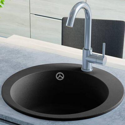 vidaXL Diskho granit enkel rund svart