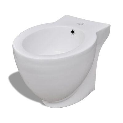 vidaXL Bidé i högkvalitativ keramik rund vit