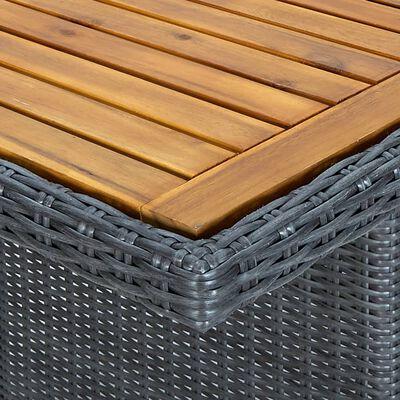 vidaXL Matgrupp för trädgården med dynor 7 delar konstrotting mörkgrå