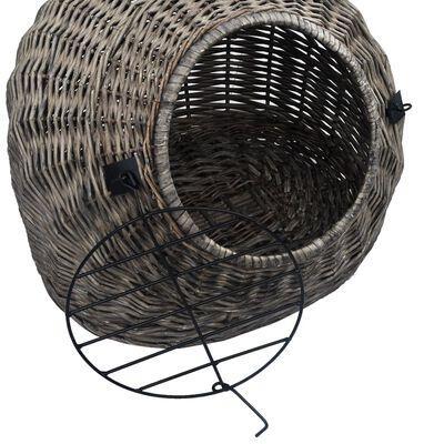 vidaXL Kattbur grå 45x35x35 cm naturlig pil