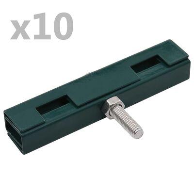 vidaXL Sammankopplare för galler U-form 10 set grön