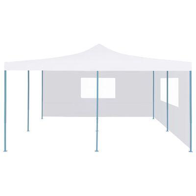 vidaXL Hopfällbart partytält med 2 sidoväggar 5x5 m vit