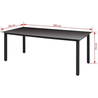 vidaXL Trädgårdsbord svart 190x90x74 cm aluminium och glas