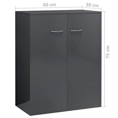 vidaXL Skänk grå högglans 60x30x75 cm spånskiva