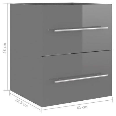 vidaXL Tvättställsskåp grå högglans 41x38,5x48 cm spånskiva