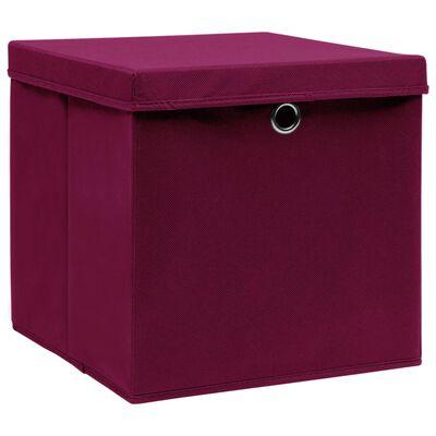 vidaXL Förvaringslådor med lock 4 st 28x28x28 cm röd
