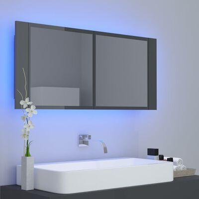 vidaXL Spegelskåp med LED grå högglans 100x12x45 cm