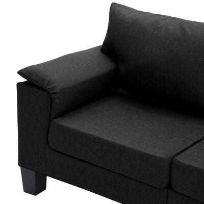 vidaXL 3-sitssoffa svart tyg