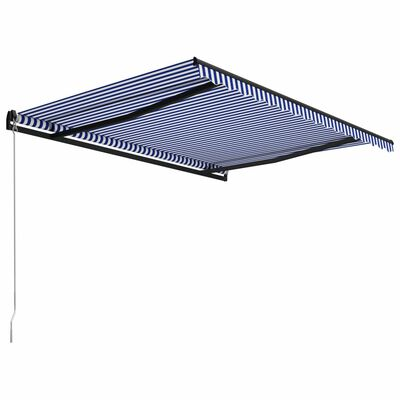 vidaXL Markis manuellt infällbar 450x300 cm blå och vit
