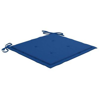 vidaXL Trädgårdsstolar 2 st med kungsblå dynor massivt teakträ