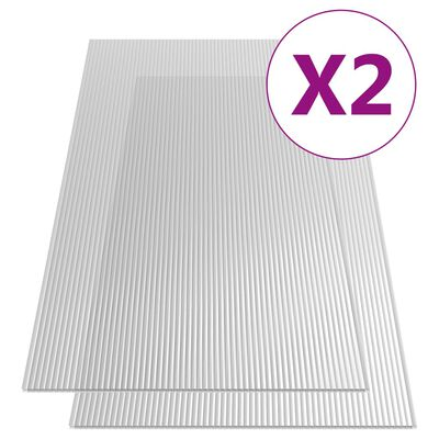 vidaXL Polykarbonatark 2 st 10 mm 150x65 cm