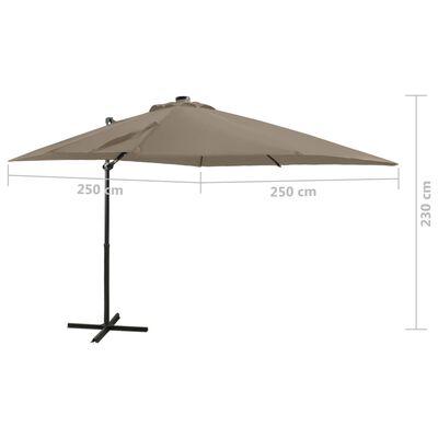 vidaXL Frihängande parasoll med stång och LED taupe 250 cm
