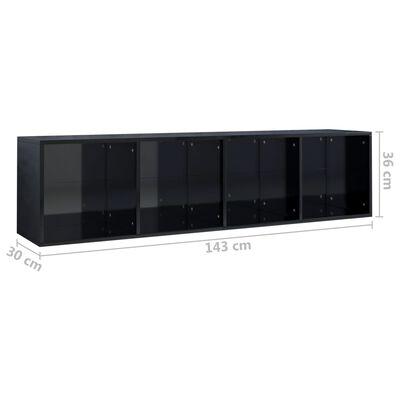 vidaXL Bokhylla/TV-bänk svart högglans 36x30x143 cm spånskiva
