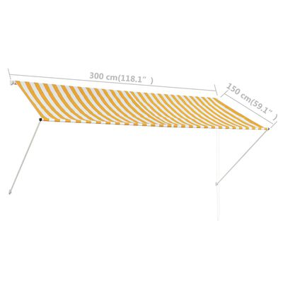 vidaXL Markis 300x150 cm gul och vit