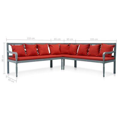vidaXL Loungegrupp för trädgården 4 delar akaciaträ grå och röd