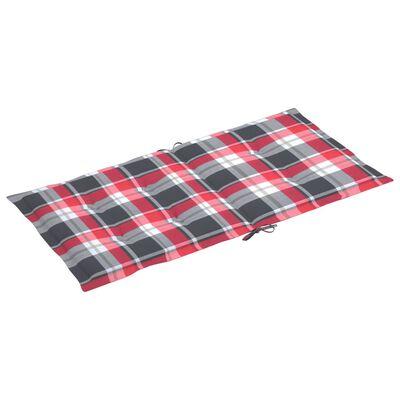 vidaXL Dynor för trädgårdsstolar 6 st rött rutmönster 100x50x4 cm