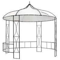 vidaXL Paviljong 300x290 cm vit rund