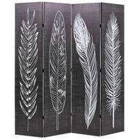 vidaXL Vikbar rumsavdelare fjädrar 160x170 cm svart och vit
