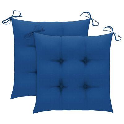 vidaXL Caféset 3 delar med blåa dynor massiv teak