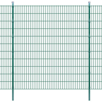 vidaXL 2D Stängselpaneler med stolpar 2008x2230 mm 18 m grön