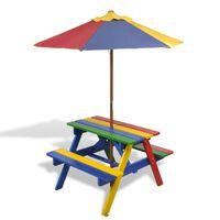 vidaXL Picknickbord med bänkar och parasoll för barn flerfärgad trä