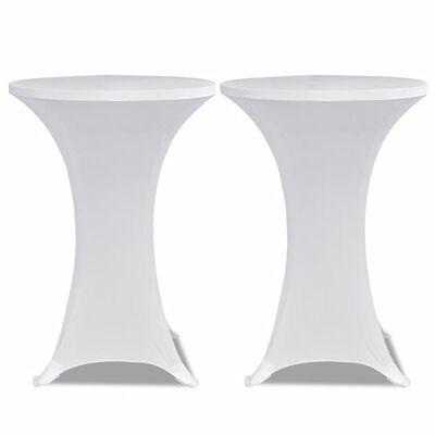 vidaXL Överdrag till ståbord 2 st Ø 70 cm stretch vit