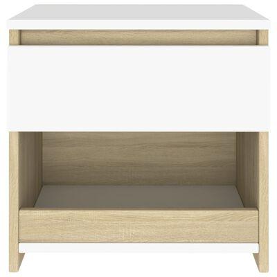 vidaXL Nattduksbord vit och sonoma-ek 40x30x39 cm spånskiva