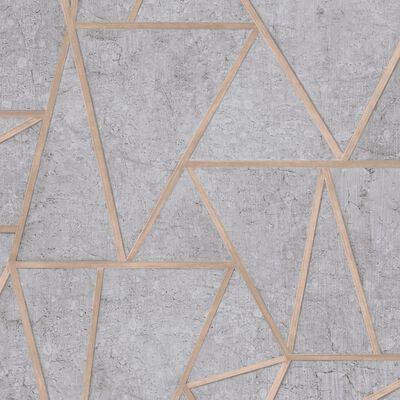 DUTCH WALLCOVERINGS Tapet trianglar grå och silver
