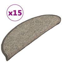 vidaXL Trappstegsmattor självhäftande 15 st 56x20 cm beige och grå