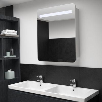 vidaXL Badrumsspegel med skåp LED 68x9x80 cm