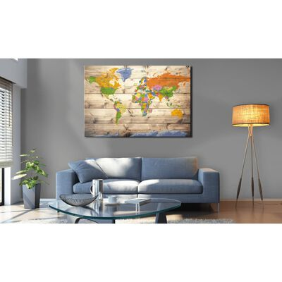 Tavla - Map On Wood: Colourful Travels - 90x60 Cm